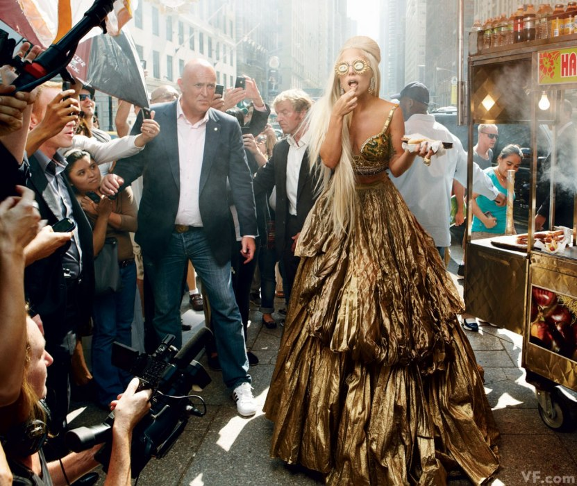 Lady Gaga in New York City, photographed by Annie Leibovitz.