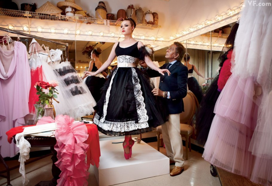Valentino and New York City Ballet principal dancer Sara Mearns, in one of his designs,