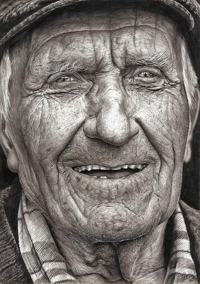 Sixteen-Year-Old Hyper-Realistic Pencil Portrait 1