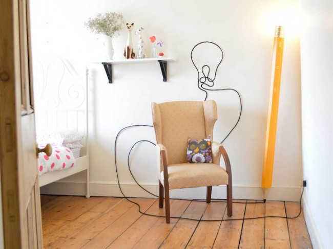 Floor Lamp Designed as a Giant Pencil 1