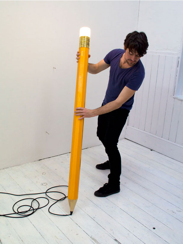Floor Lamp Designed as a Giant Pencil 3