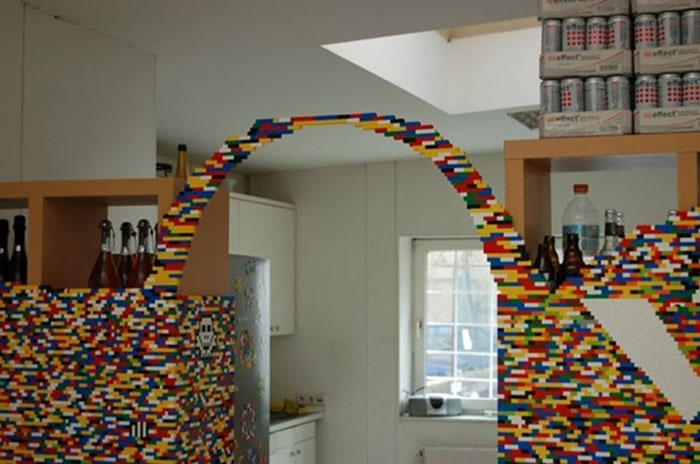 Genius Builds An Entire Wall Of Legos In His House, And It's Awesome 2