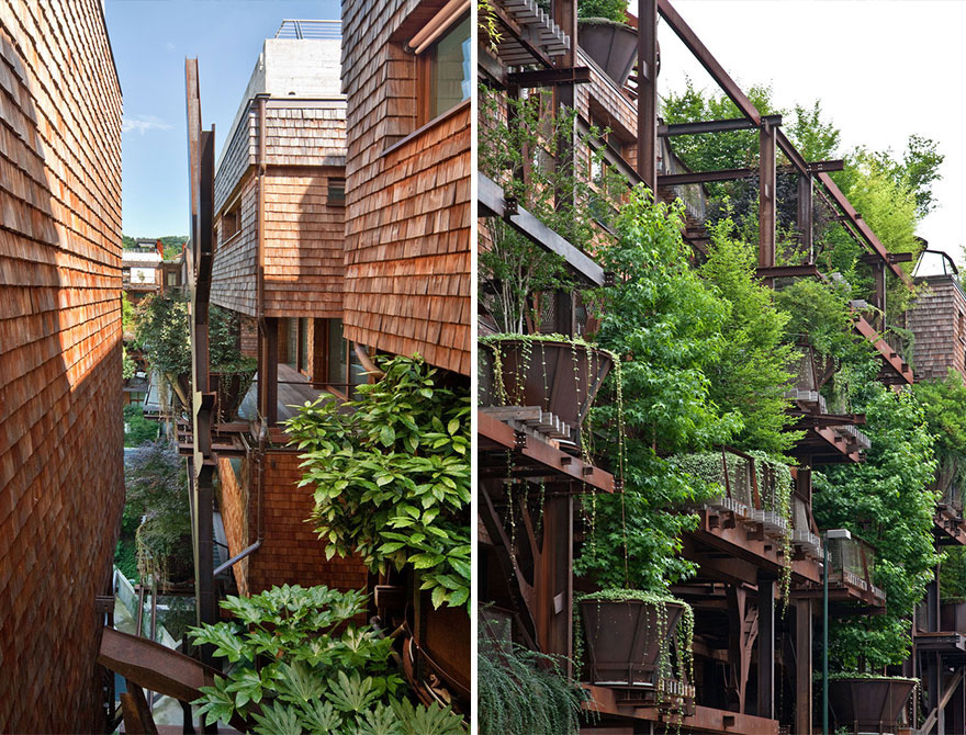 Urban Treehouse Uses 150 Trees To Protect Residents From Noise And Pollution 3