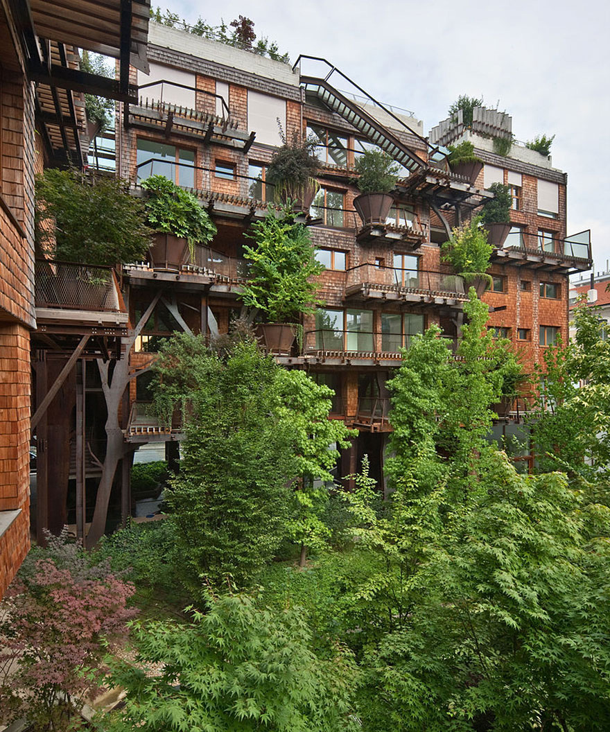 Urban Treehouse Uses 150 Trees To Protect Residents From Noise And Pollution 5