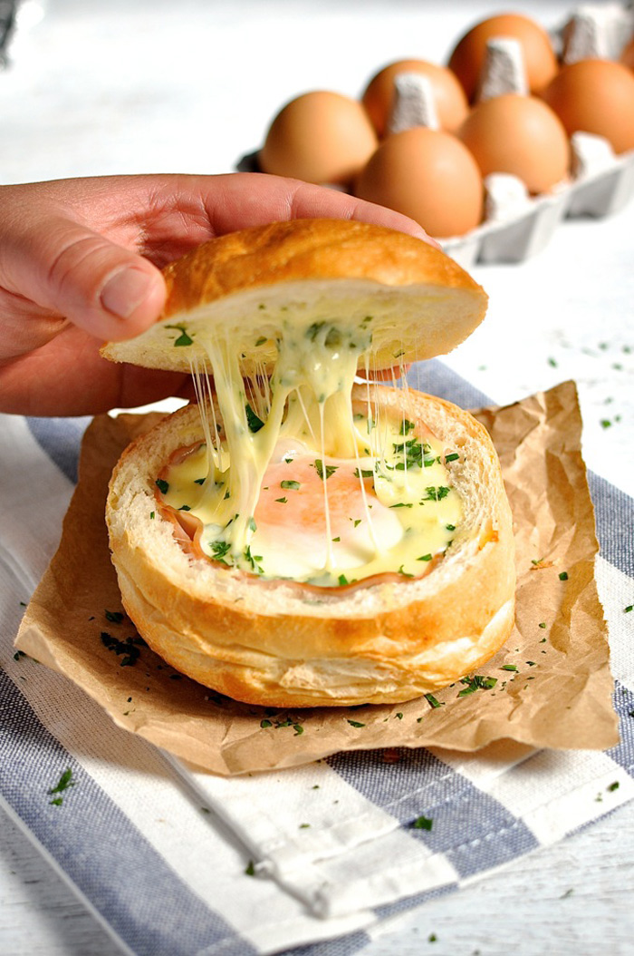 Hate Washing Dishes? Ham, Egg And Cheese Bread Bowls 2