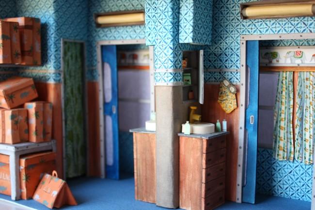 藝術家 Mar Cerdà 以紙工藝和水彩畫,打造 Wes Anderson 的電影場景 4