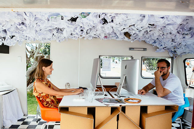 These Architects Wanted To Work Outside, So They Made A Mobile Office In A Caravan 6