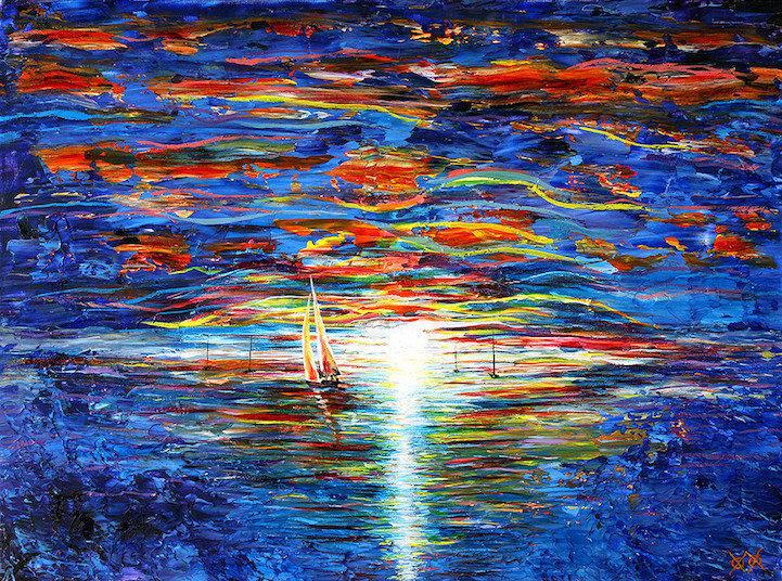 Colors in Darkness:盲人藝術家靠著觸摸和紋理創造驚人而生動的彩色畫作 6