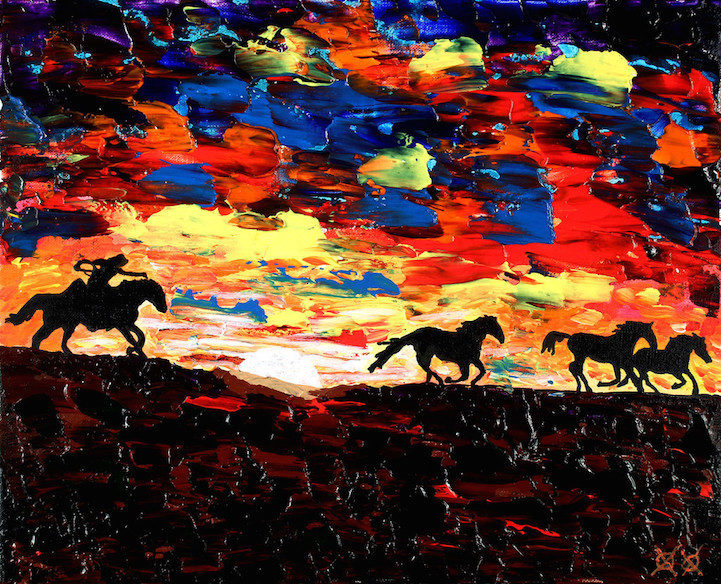 Colors in Darkness:盲人藝術家靠著觸摸和紋理創造驚人而生動的彩色畫作 9
